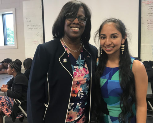 Anjali Chadha with Lt. Gov. Jenean Hampton