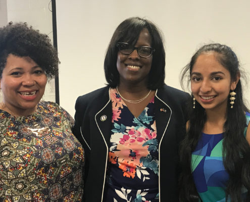 Alisia McClain and Anjali Chadha with Lt. Gov. Jenean Hampton